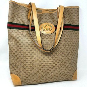 Authentic Gucci Micro GG Ophidia Web Large Tote